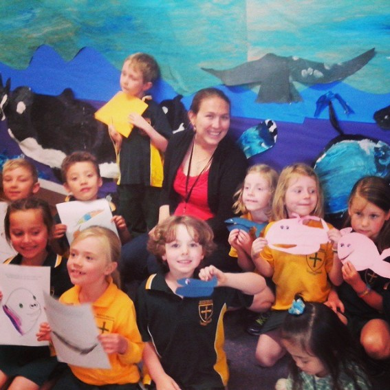 Reny Tyson had 'A Whale of a Day' teaching students at Mount Nelson Primary School in Hobart, Tasmania about humpback whales and Antarctica