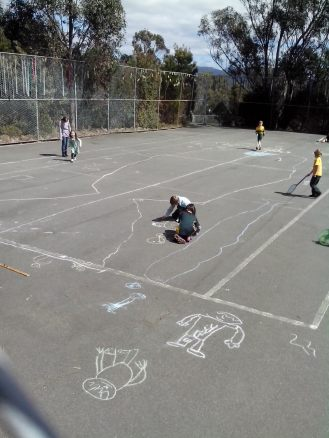 Students measured and drew a life sized whale (and friends) on the tennis court