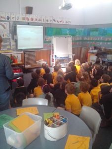 "Primary student's enjoying 'A Whale's Tale"" film at Mount Nelson Primary School in Hobart, Tasmania"