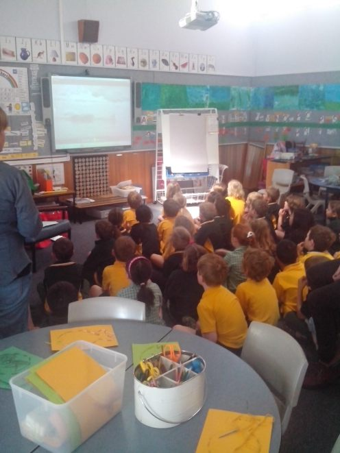 """Primary student's enjoying 'A Whale's Tale"""" film at Mount Nelson Primary School in Hobart, Tasmania"""