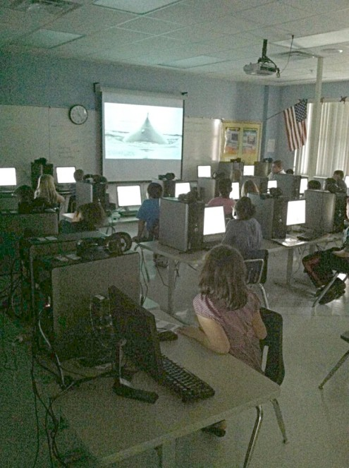 3rd grade students watching 'A Whale's Tale' at Leesburg Elementry School, Florida